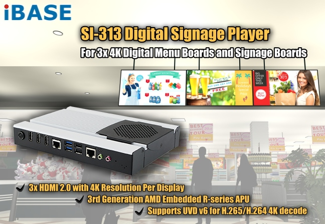 3rd Generation AMD Embedded R-series APU-based Signage Player with  Next-Gen AMD Radeon™ HD Graphics and Three HDMI - SI-313