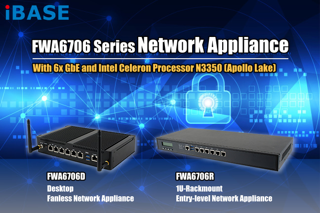 Compact, Slim Intel® Celeron® Processor N3350 Fanless Network Appliance with 6 GbE Ports - FWA6706D