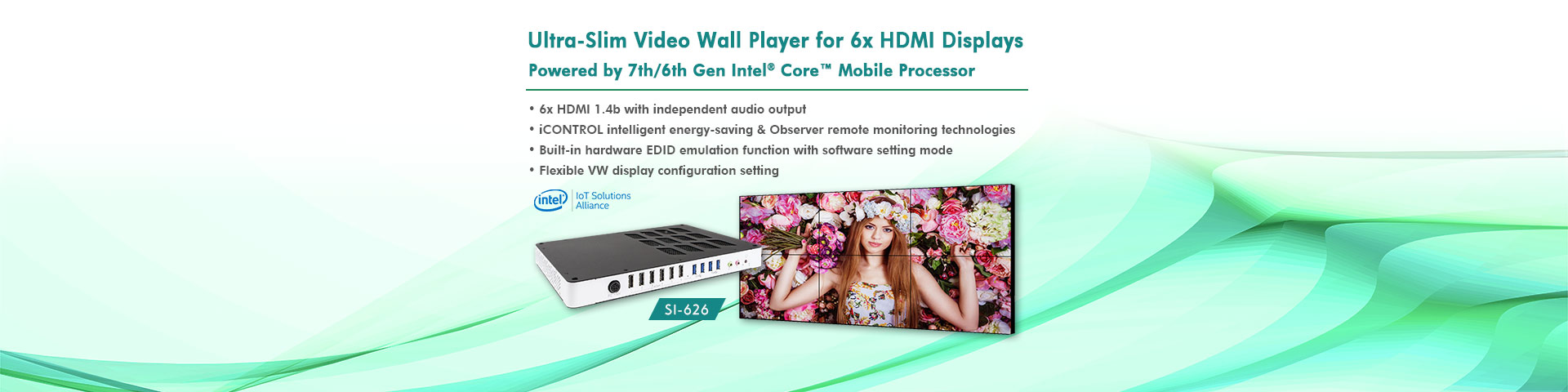 Ultra-Slim SI-626 Video Wall Player for Six High-Definition HDMI Displays