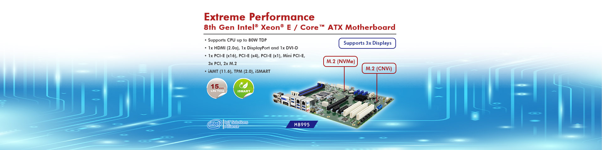 8th Gen Intel® Xeon® E / Core™ based MB995 ATX Motherboard with M.2 NVMe and CNVi Functions